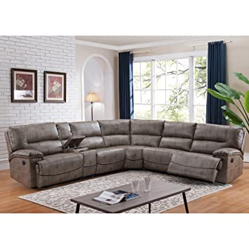 AC Pacific Donovan 6 Piece Sectional Sofa With Power Reclining Seats And  Storage Console
