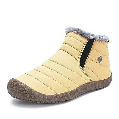 SAGUARO Herren Damen Winterschuhe Warm Gefüttert Winter Stiefel Kurz Schnür Boots Schneestiefel Outdoor Freizeit Schuhe,Gelb 45