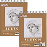 """U.S. Art Supply 08"""" x 10"""" Premium Spiral Bound Sketch Pad, Pad of 100-Sheets, 60 Pound (100gsm) (Pack of 2 Pads)"""