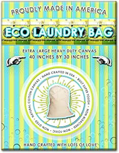 Laundry Bag. Heavy Duty. Extra Large Size: 40 Inches Tall by 30 Inches Wide. Load Capacity is 150 Pounds. Proudly Handcrafted in Huntington Beach, California. Toughest Laundry Bag Sold on Amazon!
