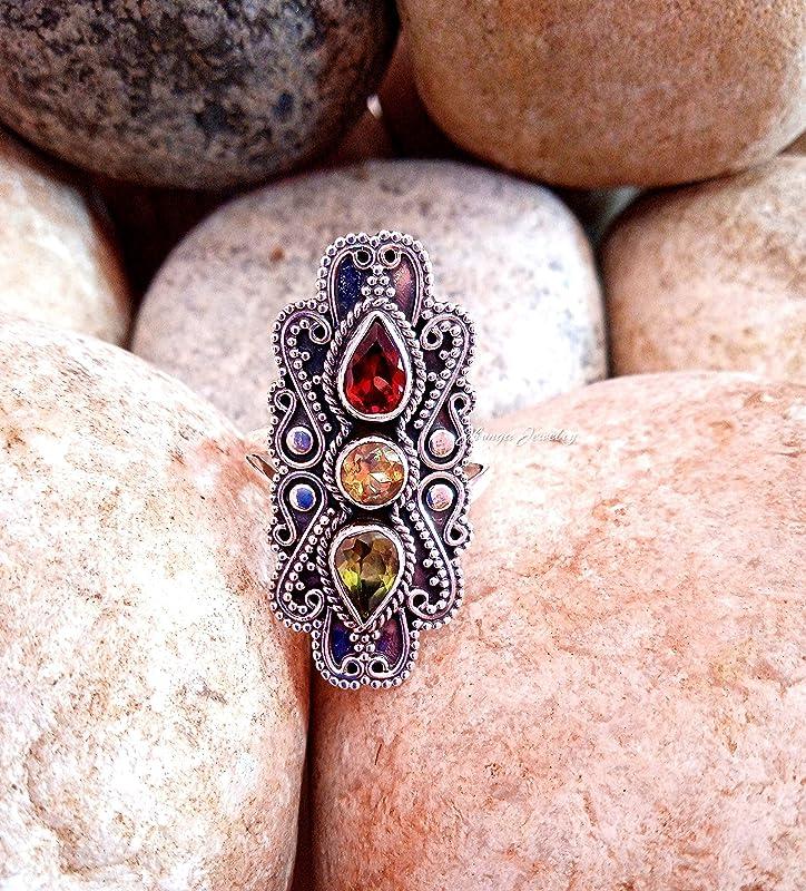 CITRINE Ring Wedding Ring Design N0 Gemstone Ring Valentine Gift Engagement Ring Birthday Gift RC-013 Citrine Silver Ring
