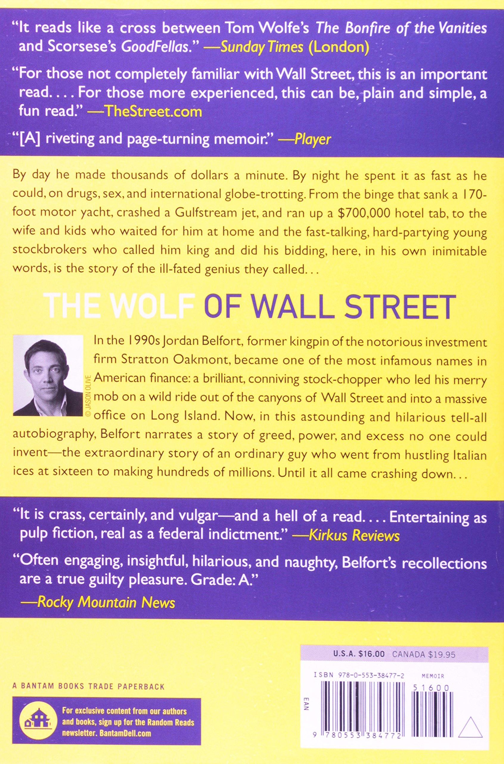 The Wolf Of Wall Street: Jordan Belfort: 9780553384772: Amazon: Books