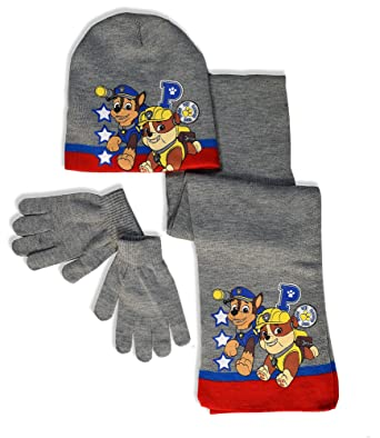 ce41bcd425ef0 Boys Paw Patrol Hat Scarf and Gloves Set - Kids Paw Patrol Winter  Accessories Gift Set