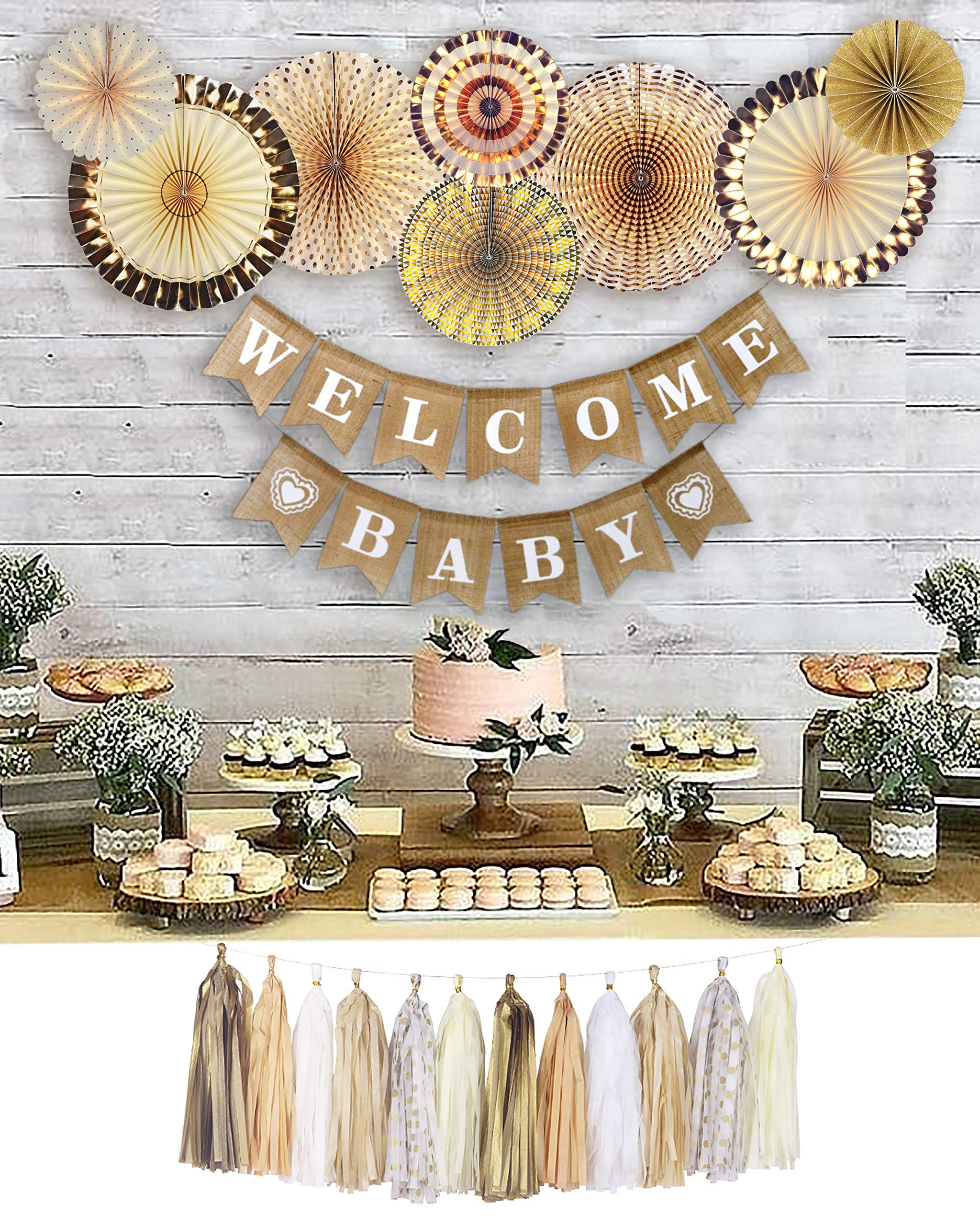 YARA Neutral Baby Shower Decorations for Coed, Unisex, Boy or Girl, Rustic Welcome Baby Banner in Burlap, Tassels, Gold and White Gender Neutral Baby Shower Decor Set, Gold Paper Fans Decorations by Yara Enterprises (Image #1)