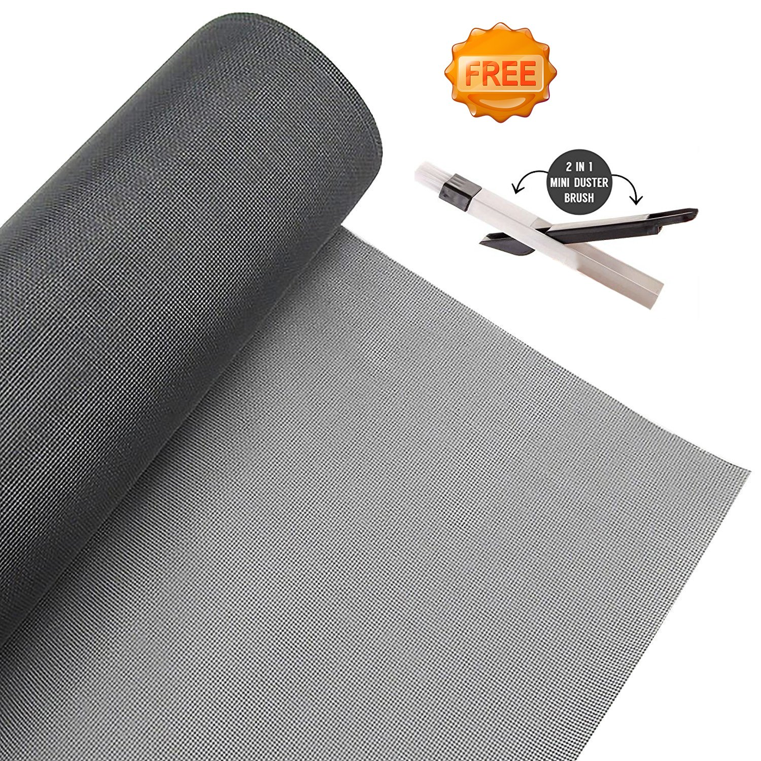Window Screen Roll Adjustable Protector Screen Mesh Replacement Inflaming Fiberglass Summer Blocking Mosquito Insect Bug Fly for Window and Door with Cleaning Brush (Gray 48 x 99 inch)
