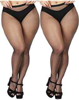 8be66413237 TGD Women s Sexy Fishnet Tights Pantyhose Net Plus Size Thigh High Stockings  2Pairs