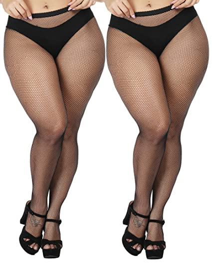 1a6a0df8e8e Amazon.com  TGD Women s Sexy Fishnet Tights Pantyhose Net Plus Size Thigh  High Stockings 2Pairs  Clothing