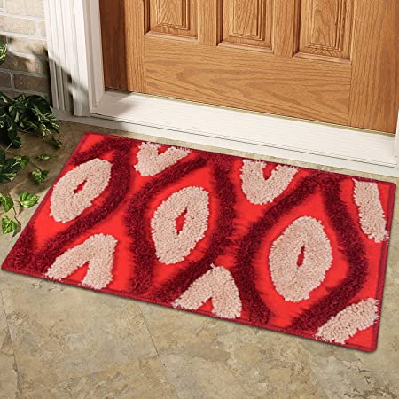 Story@Home Door Mat Combo - Diana Premium Cotton Blend Series, Soft, Anti Slip and Water Absorbing (Machine Washable) - Red
