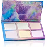 TZ COSMETIX - Aurora Borealis 6 Colors Highlighter / Glow Kit - Wet Soft Cream Powder Illuminating Makeup Palette - with Rainbow Star Box tz-6fb