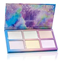 TZ COSMETIX - Aurora Borealis 6 Colors Highlighter / Glow Kit - Soft Texture Wet Powder Illuminating Duochrome Makeup Palette - with Rainbow Star Box tz-6fb