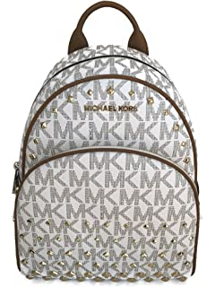 f6c3c2a25211 Michael Kors Abbey Medium Backpack Vanilla MK Signature Stud School Bag