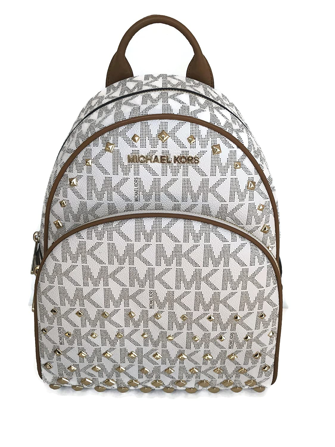 46581f850343 ... reduced amazon michael kors abbey medium backpack vanilla mk signature  stud school bag shoes 6eec5 b7495