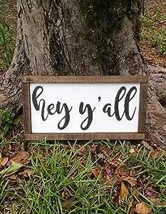 EricauBird Wood Sign-Hey Y'all Farmhouse Welcome Sign,Hey Yall Sign,Farmhouse Sign,Farmhouse Decor,Welcome Sign,Sign for Front Porch,Porch Sign, Home Wall Art, 12x22