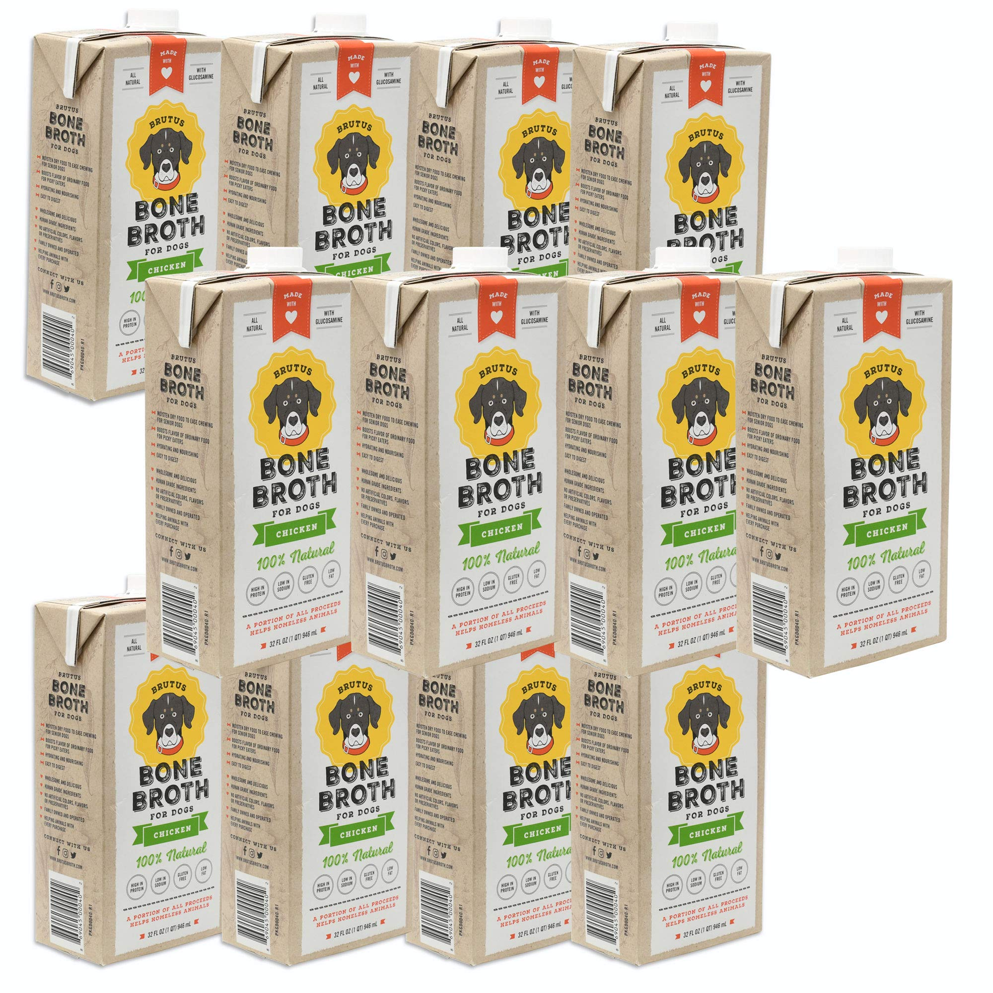 Brutus Bone Broth for Dogs | Chicken 12-Pack | Made in USA | Added Glucosamine & Chondroitin | Puppies Joint Relief by Brutus