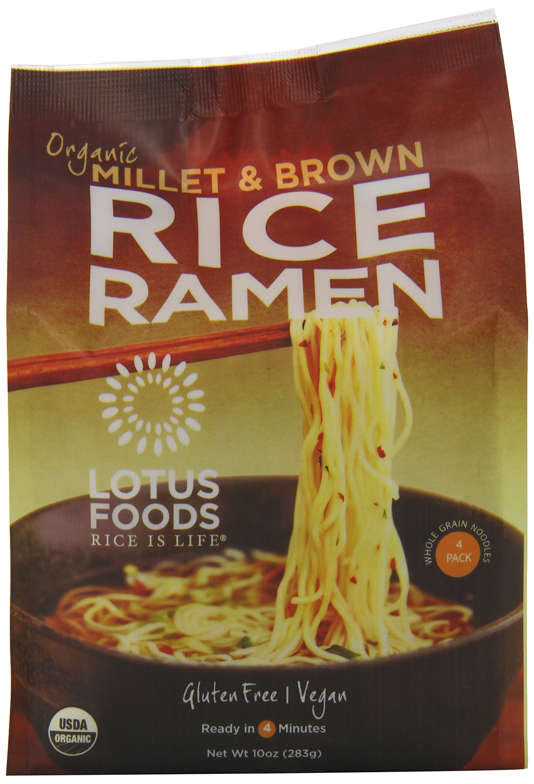 Lotus Foods Gourmet Organic Rice Ramen Noodles, Millet and Brown Rice, 6 Count by Lotus Foods