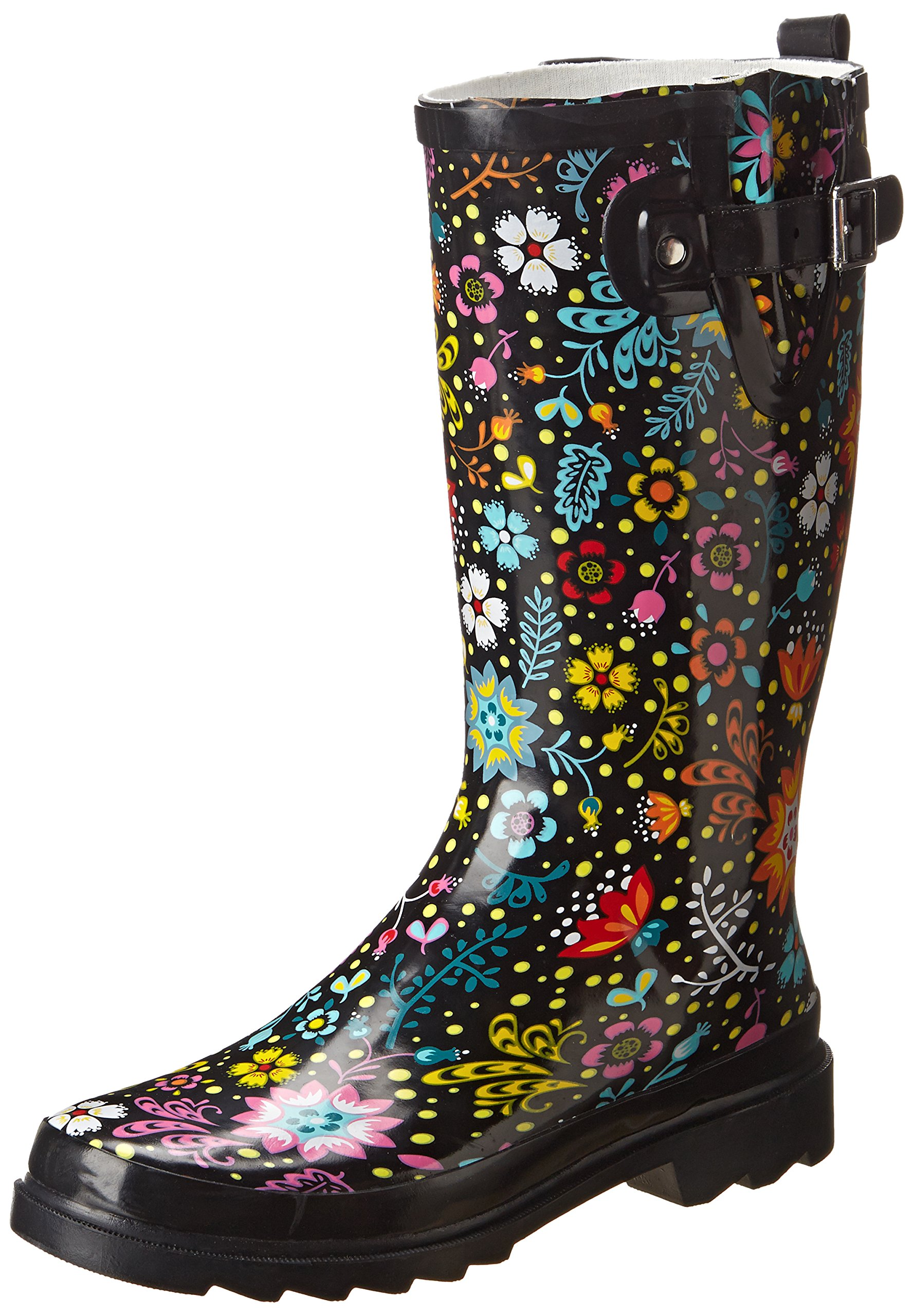 Western Chief Women's Garden Play Rain Boot,Black,8 M US