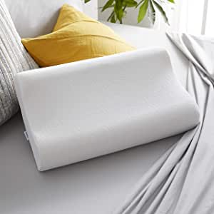 Sleep Innovations Contour Memory Foam Standard Size Pillow, Cervical Support Pillow for Sleeping, Made in the USA with 5 Year Warranty, White