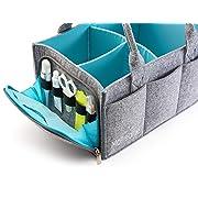 Premium Baby Diaper Caddy Organizer   Portable Nursery Storage Bin   Car Seat Tote with Zipper Pocket & 5mm Heavy Duty Felt by Mollieollie
