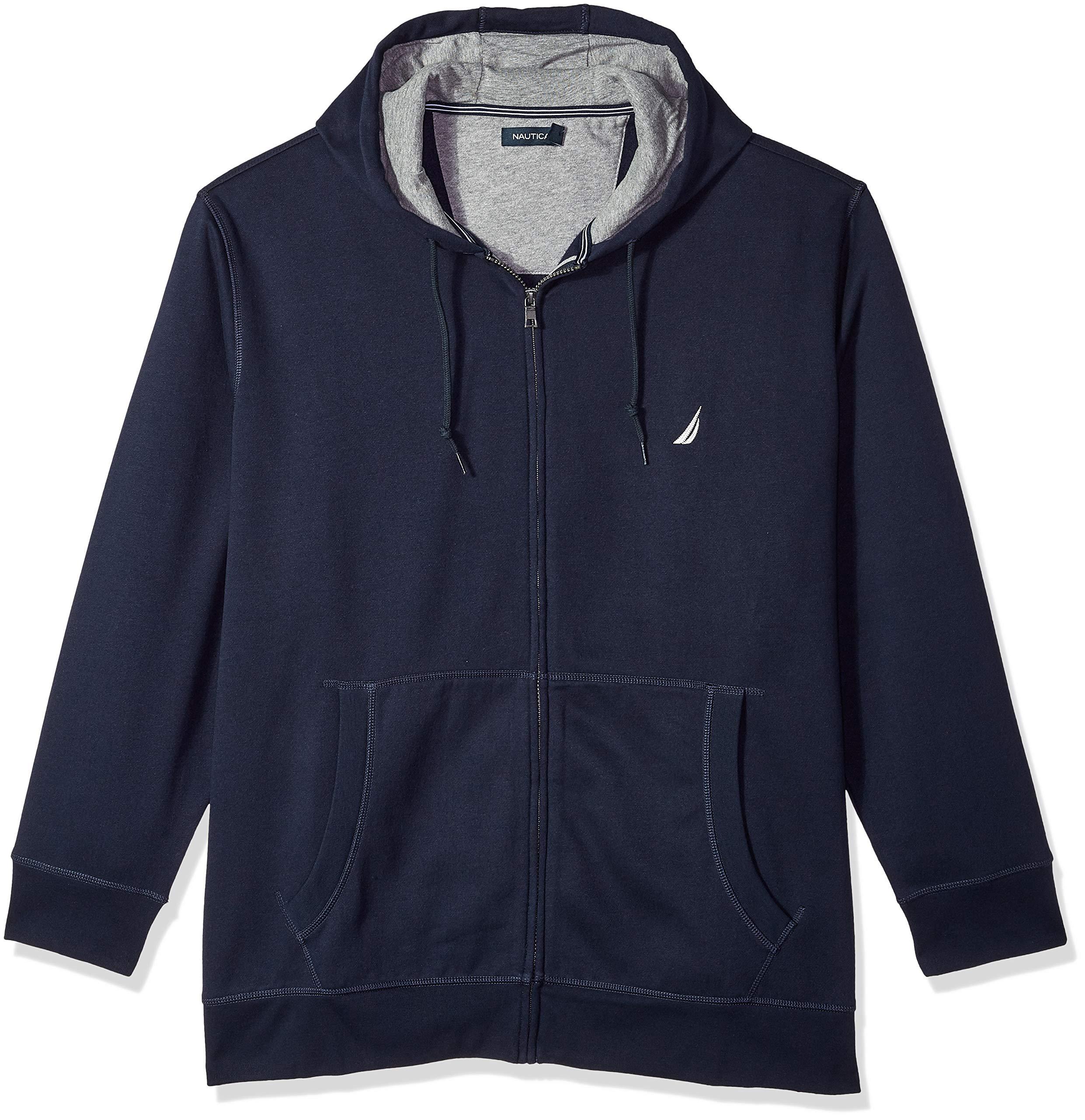 Nautica Men's Big and Tall Full-Zip Sweater Hoodie Sweatshirt, Navy 4XLT