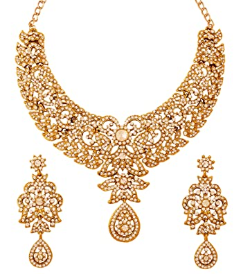 Touchstone Indian bollywood white rhinestones bridal jewelry necklace set in antique gold tone for women lpl4BS