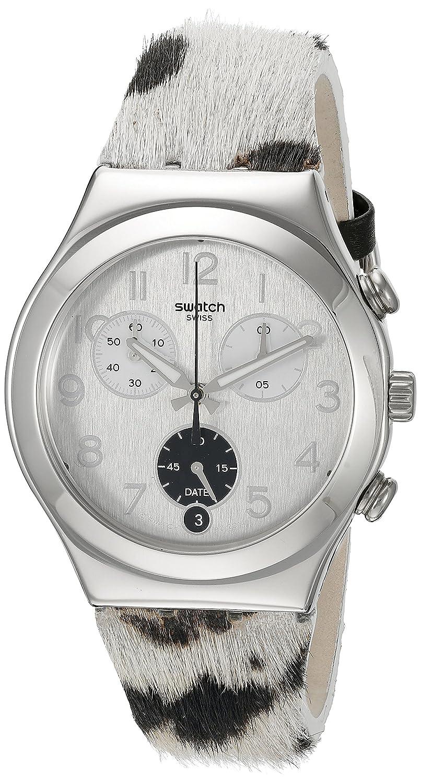 Swatch Unisex-Armbanduhr Chronograph Quarz Leder YCS585