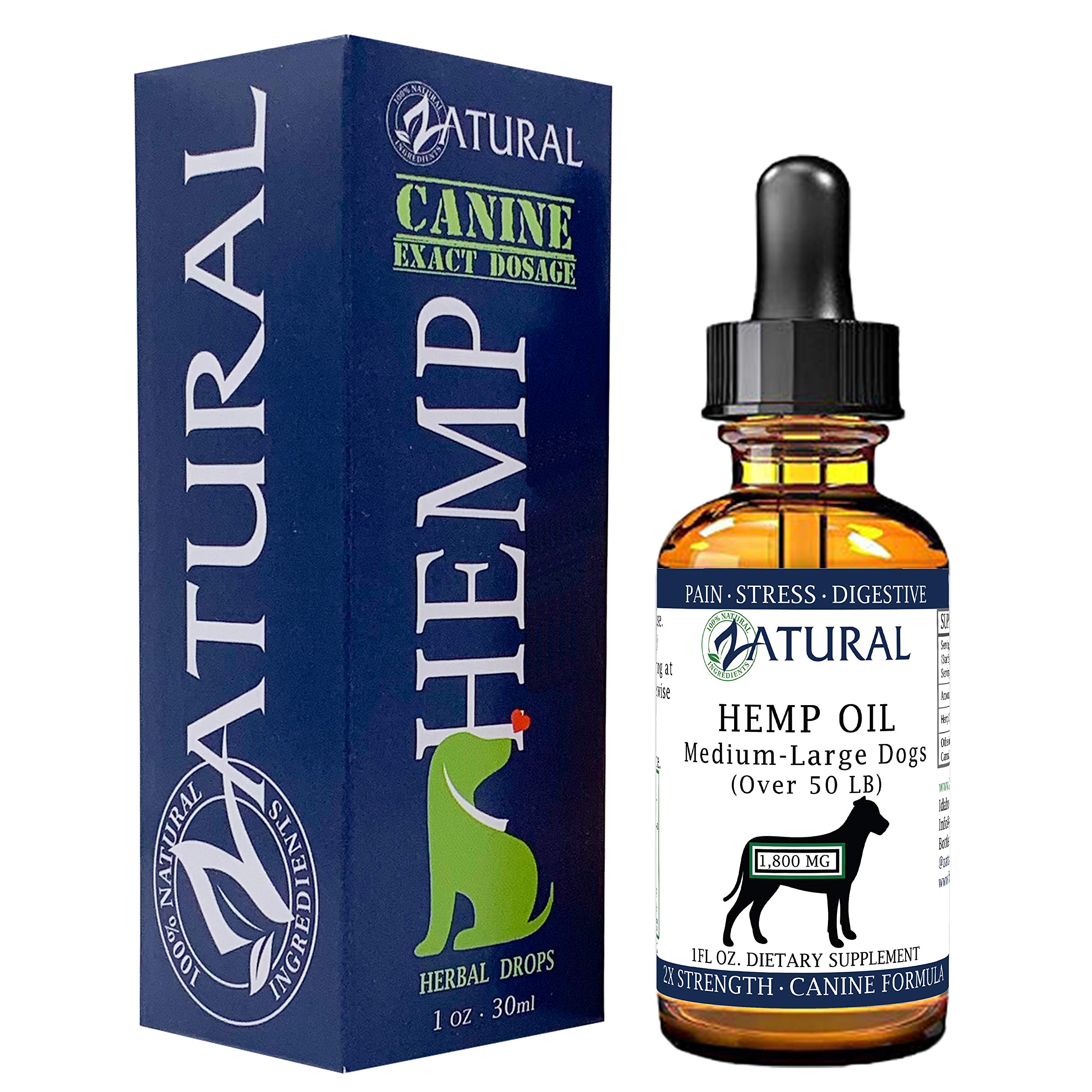 Hemp Oil for Dogs - Hemp Seed Oil - All Natural Support for Joints, Stress, Anxiety, and More (1,800mg) by Zatural