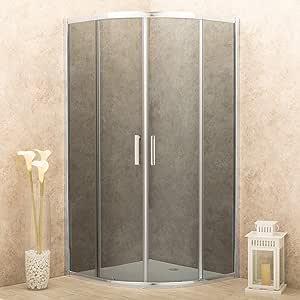Box cabina ducha Itria 90 x 90 cm semicircular cristales fume 6 mm: Amazon.es: Bricolaje y herramientas