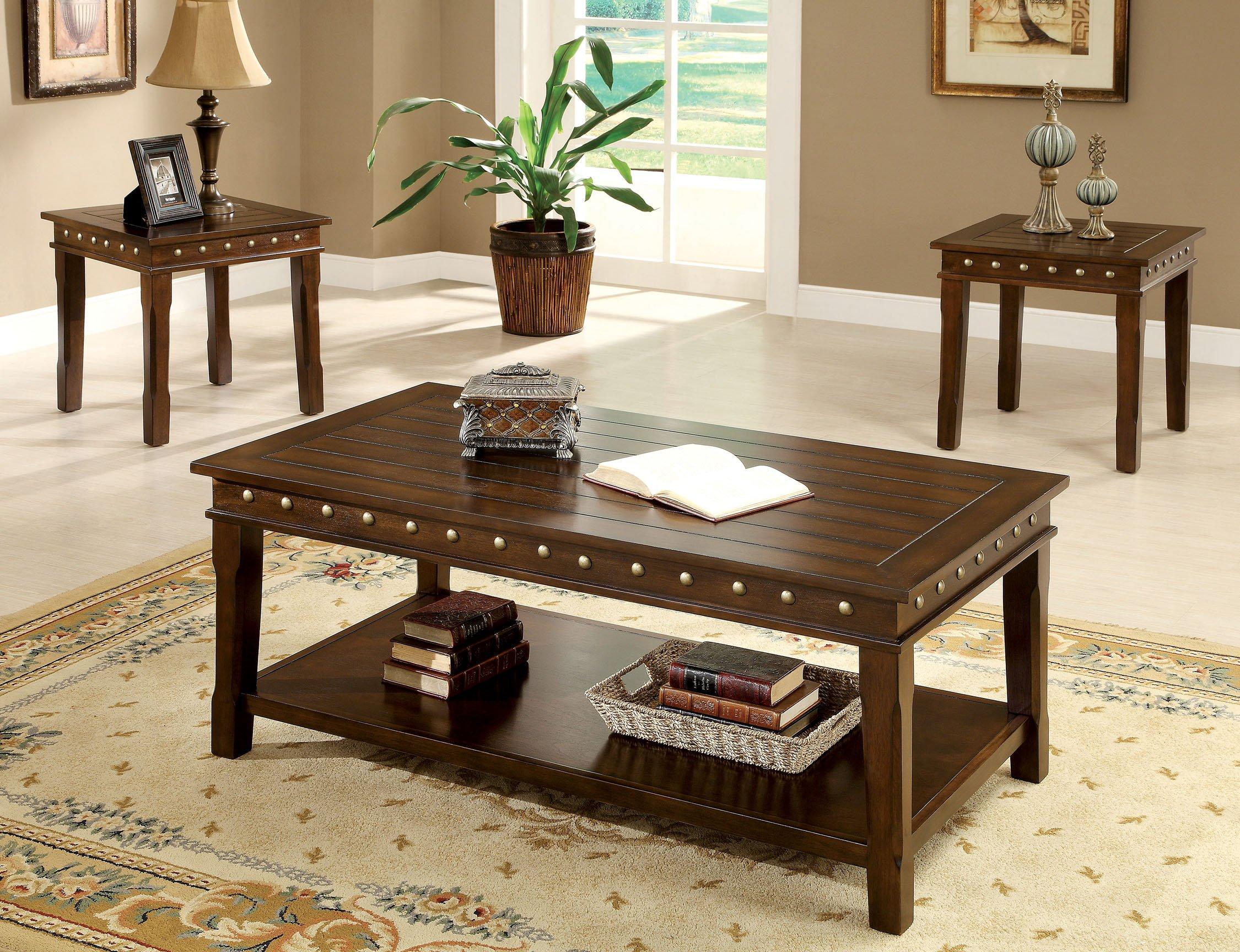 Furniture of America 3-Piece Stevenson Table Set, Walnut Finish by Furniture of America