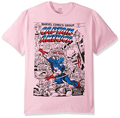 1565fe0c1 Marvel Men's Super Hero Pastel Short Sleeve Graphic T-Shirts, Captain Pink,  ...