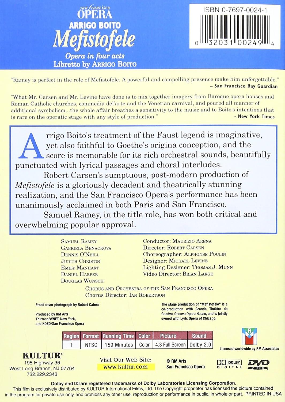 Amazon.com: Boito - Mefistofele / Arena, Ramey, Benackova, San Francisco Opera: Samuel Ramey, Gabriela Benacková, Dennis ONeill, Judith Christin, ...