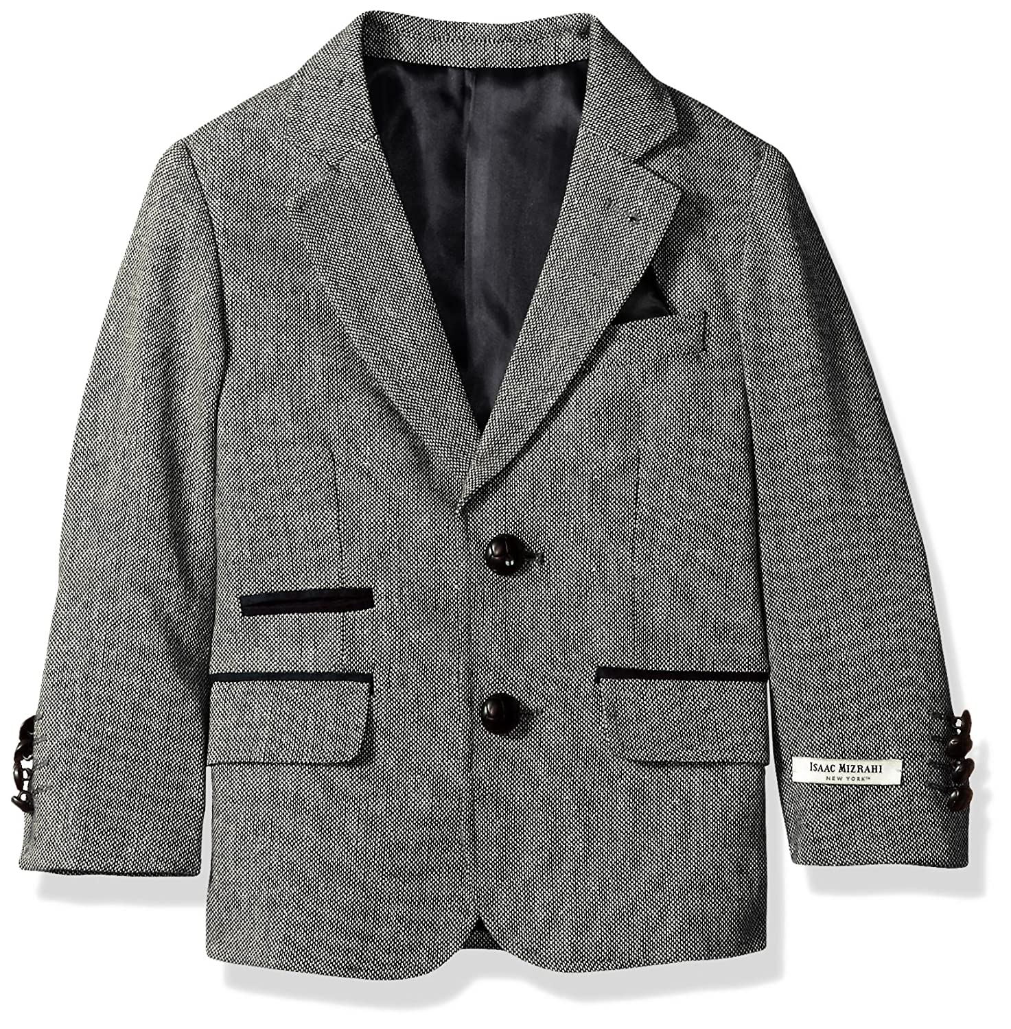 Isaac Mizrahi Boys' Tweed Blazer with Suede Contrast