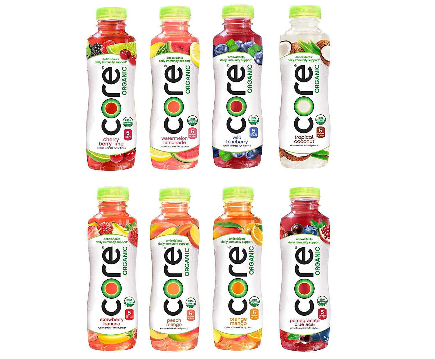 CORE Organic Fruit Infused Beverage 8 Flavor Variety Pack, 18 Fl Oz (Pack of 32)