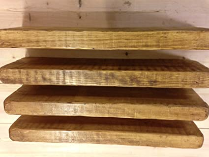 finest selection 21a56 aa85c 4 X 100CM OAK COLOUR RECLAIMED RUSTIC STYLE CHUNKY FLOATING SHELF SHELVES  WOODEN