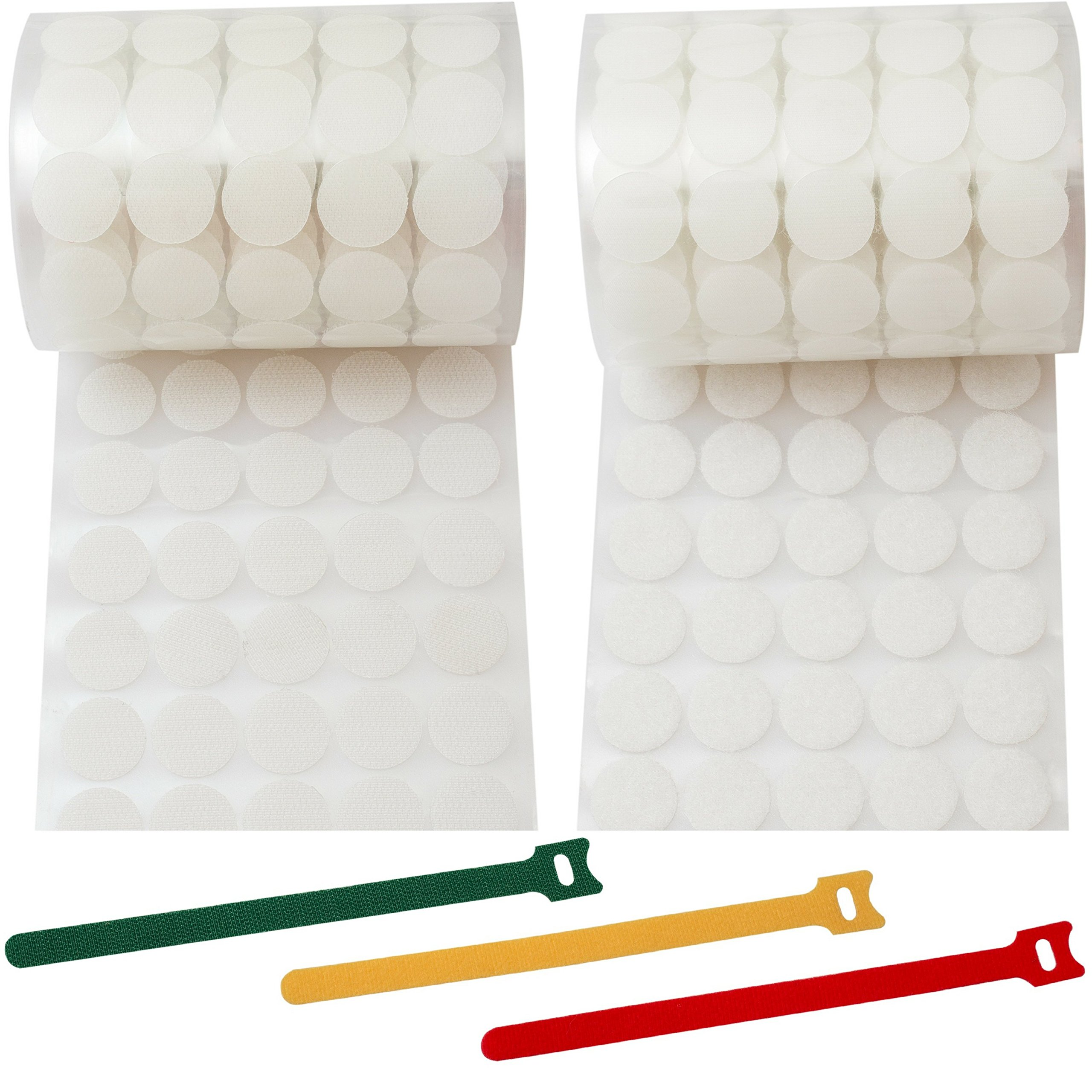 Hook and Loop Dots 1000 pcs White Craft Circles of 3/4 inch Twice More Strong Adhesive Sticky Back Coins (500 Pairs/Set) + 15pcs of Reusable Cable Ties