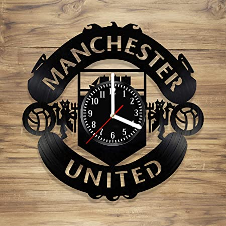 Manchester United F.C. Vinyl Record Wall Clock Football Club Red Devils Perfect Decorate Home Style Unique Gift idea for Him Her 12 inches