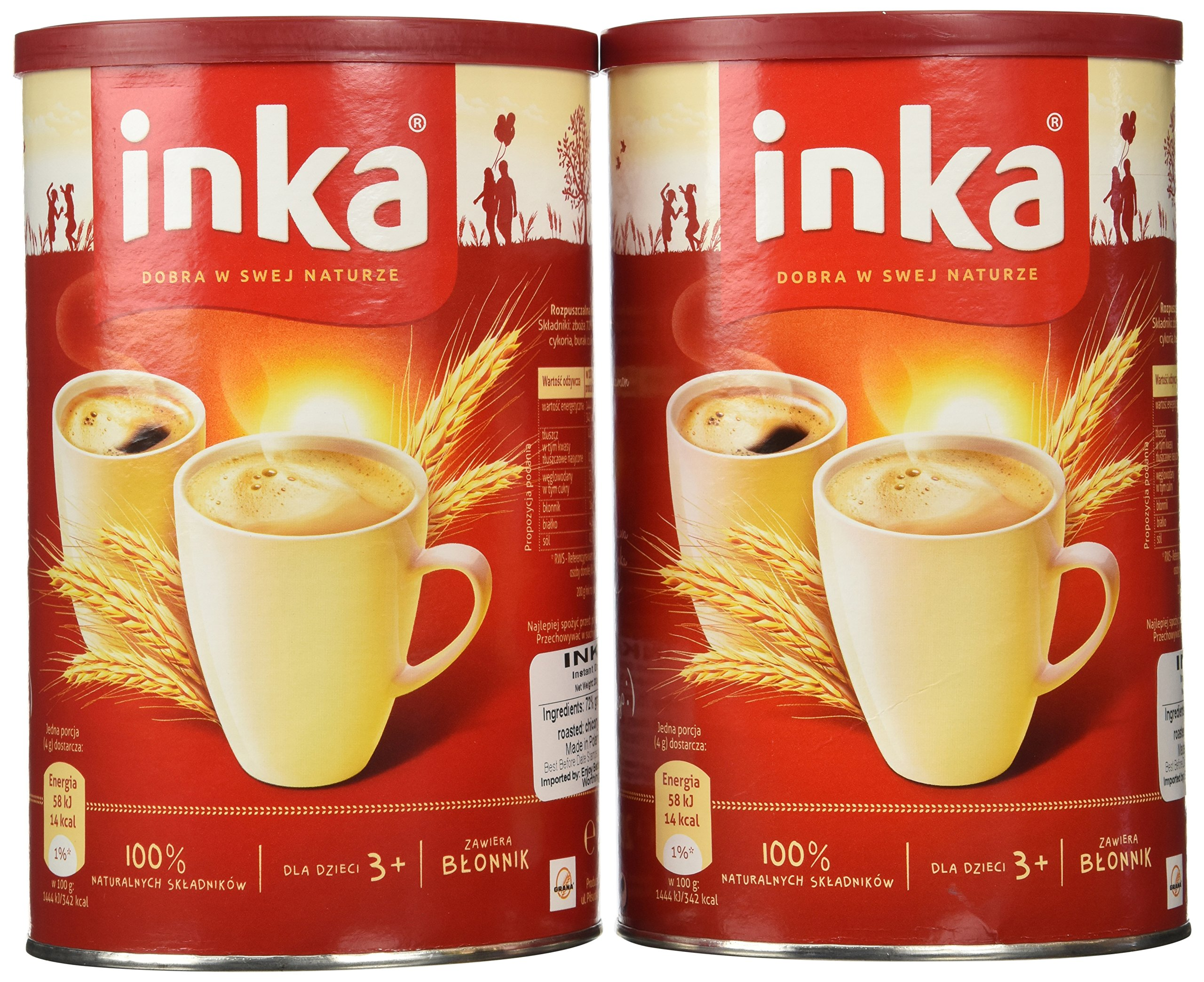Inka 2 Cans of Instant Grain Coffee Drink 7oz Each by Inka Corp.