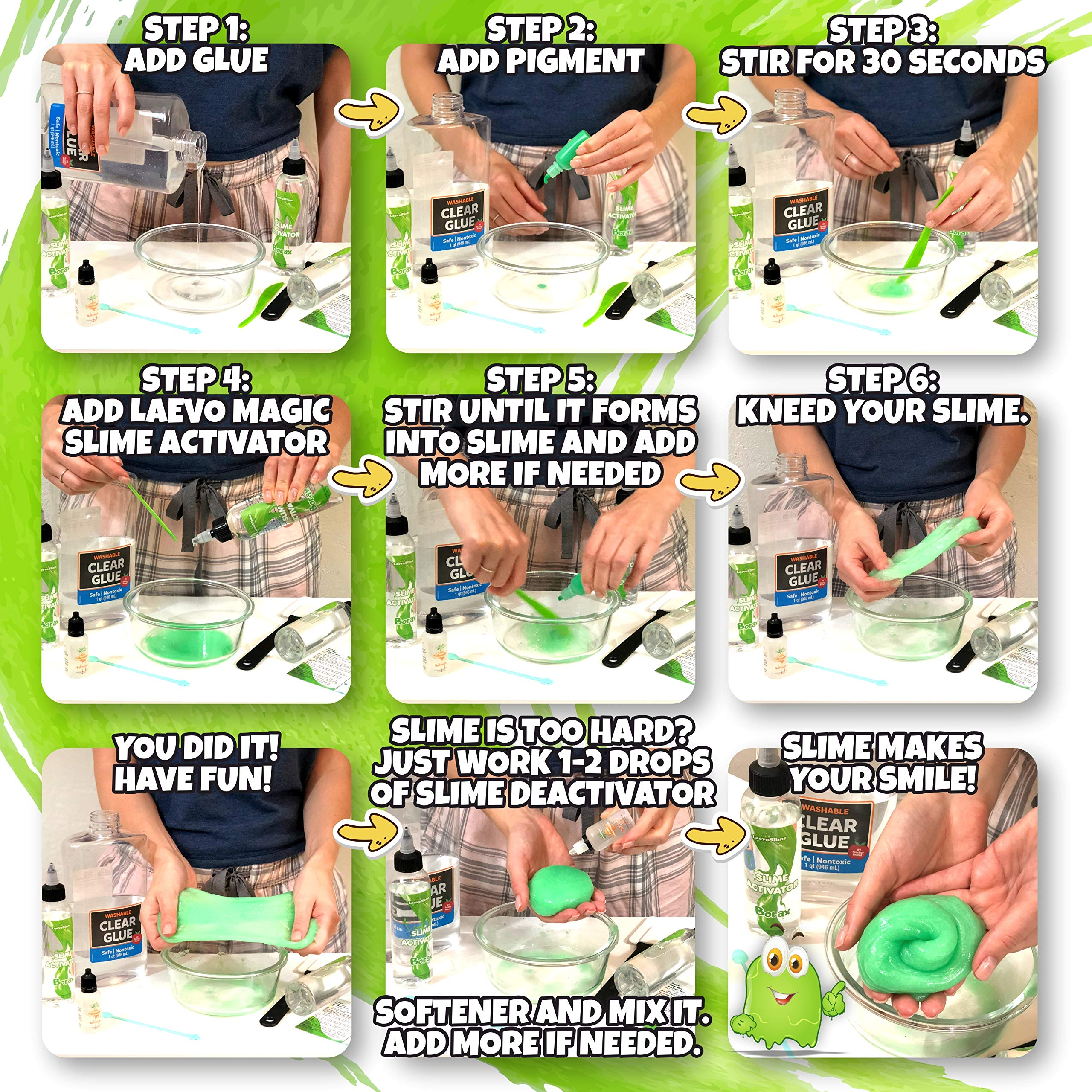 Slime Activator Borax Solution BEST VALUE KIT [15.2 oz] + BONUS Deactivator to Save Your Slime - Add to Slime Glue or Elmers Glue - Replaces Contact Solution, Liquid Starch, Saline Solution [450ml] by Laevo Cook (Image #5)