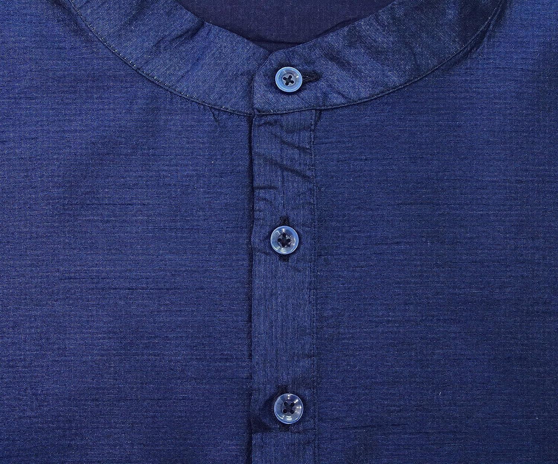 Atasi Ethnic Mens Short Kurta Mandarin Collar Dupion Shirt