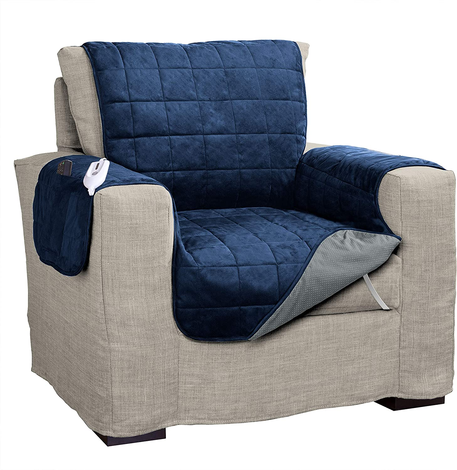 Serta | Quilted Electric Warming Furniture Protector Pet Safe & Durable Easy Care Microsuede Fabric, Chair, Navy