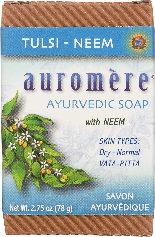 Auromere Ayurvedic Bar Soap, Tulsi Neem - Eco Friendly, Handmade, Vegan, Cruelty Free, Natural, Non GMO (2.75 oz)