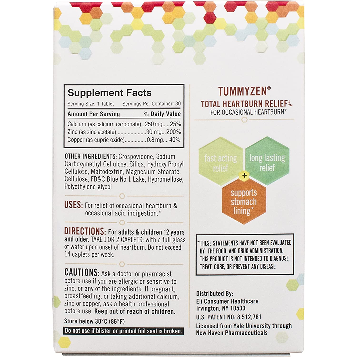 Amazon.com: TummyZen Advanced Heartburn and Relief with Patented Natural  Zinc and Calcium Formula, Long Lasting and Fast Acting - 30 Caplets: Health  ...