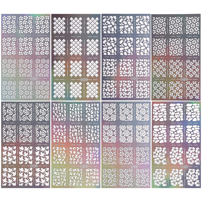BMC 8pc Holographic Mixed Pattern Manicure Nail Art Guide Sticker Bundle - Set 2 Bundle Monster