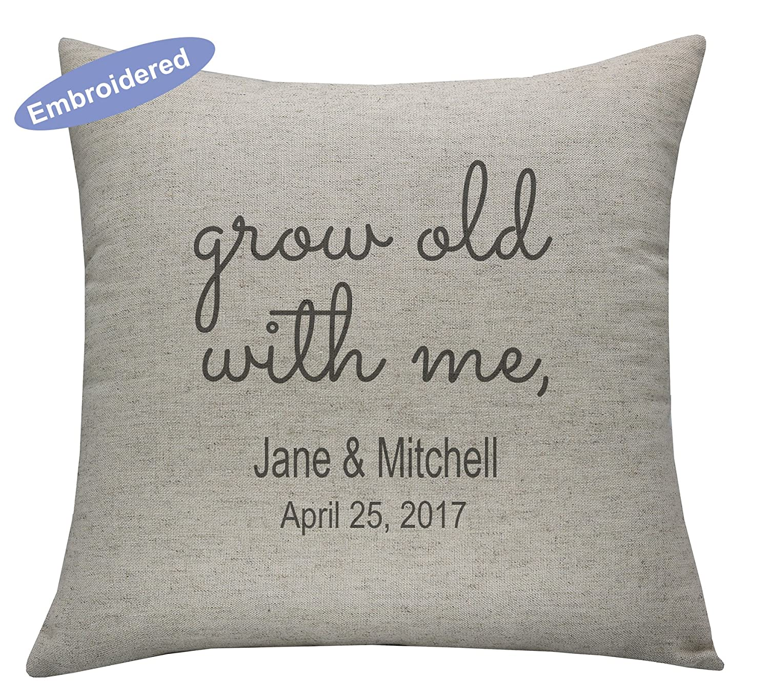 Yugtex Cushion Cover Personalized Anniversary Pillow Cover, Wedding Day Pillow Cover, Couples Pillow, Wedding Shower gift, Anniversary Date Pillow,Rustic Wedding, Custom Ring pillowcase,