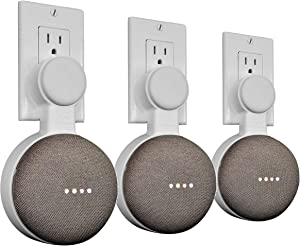 Mount Genie Affordable Essentials Google Home Mini Outlet Wall Mount Hanger Stand | A Low-Cost Space-Saving Solution (White, 3-Pack)