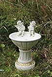 Adorno para el jardín, baño para pájaros con diseño de querubines que funciona con energía solar