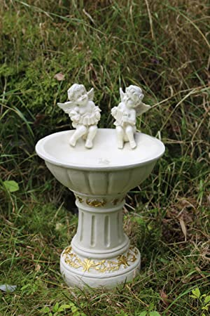 Charmant Solar Powered Garden Ornament Fairy Secret Garden Cherub Angel Bird Bath