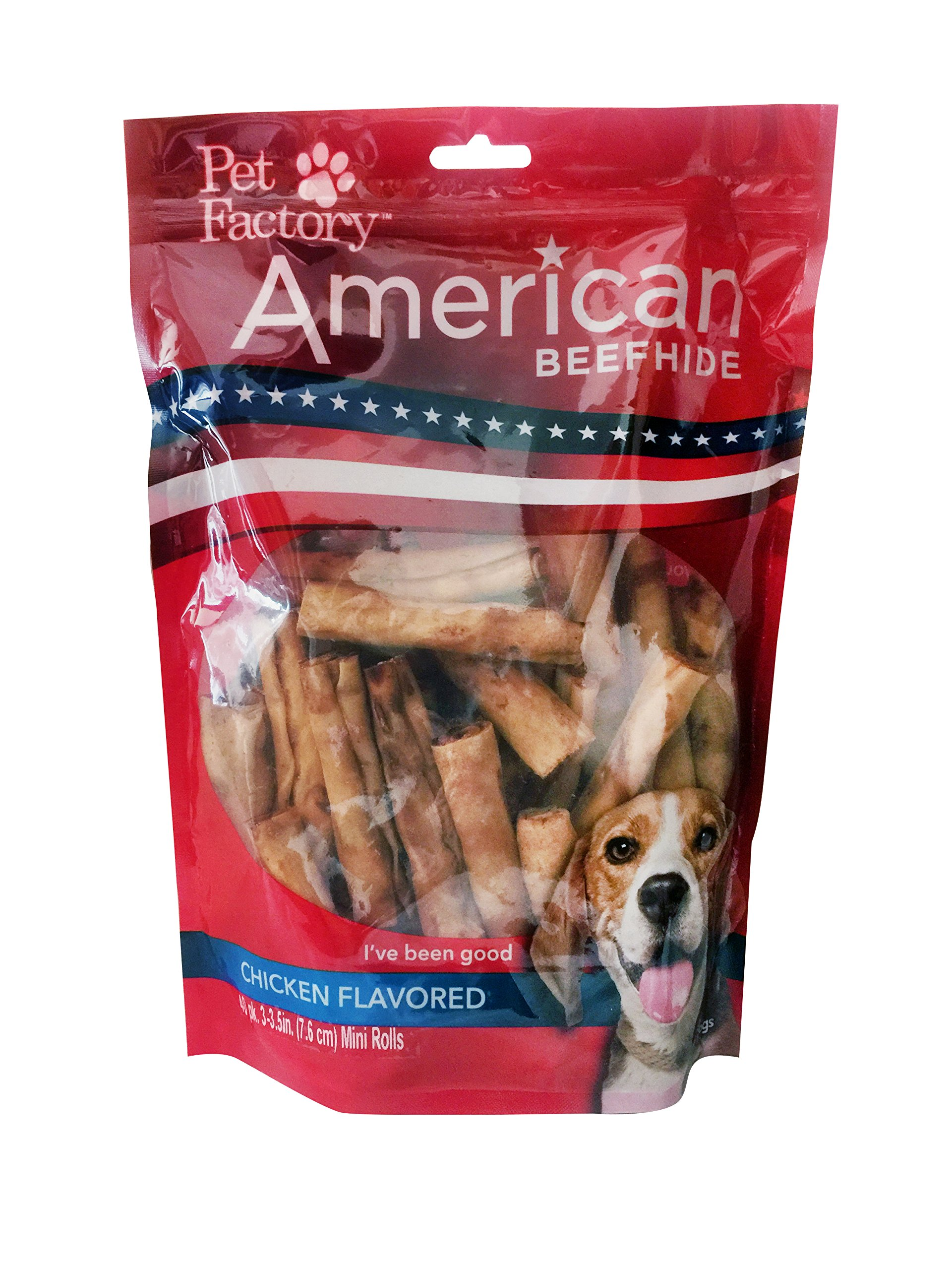 Pet Factory 28162 3'' Mini Rawhide Chip Rolls for Dogs Assorted Flavors (Beef & Chicken) 40 Pack