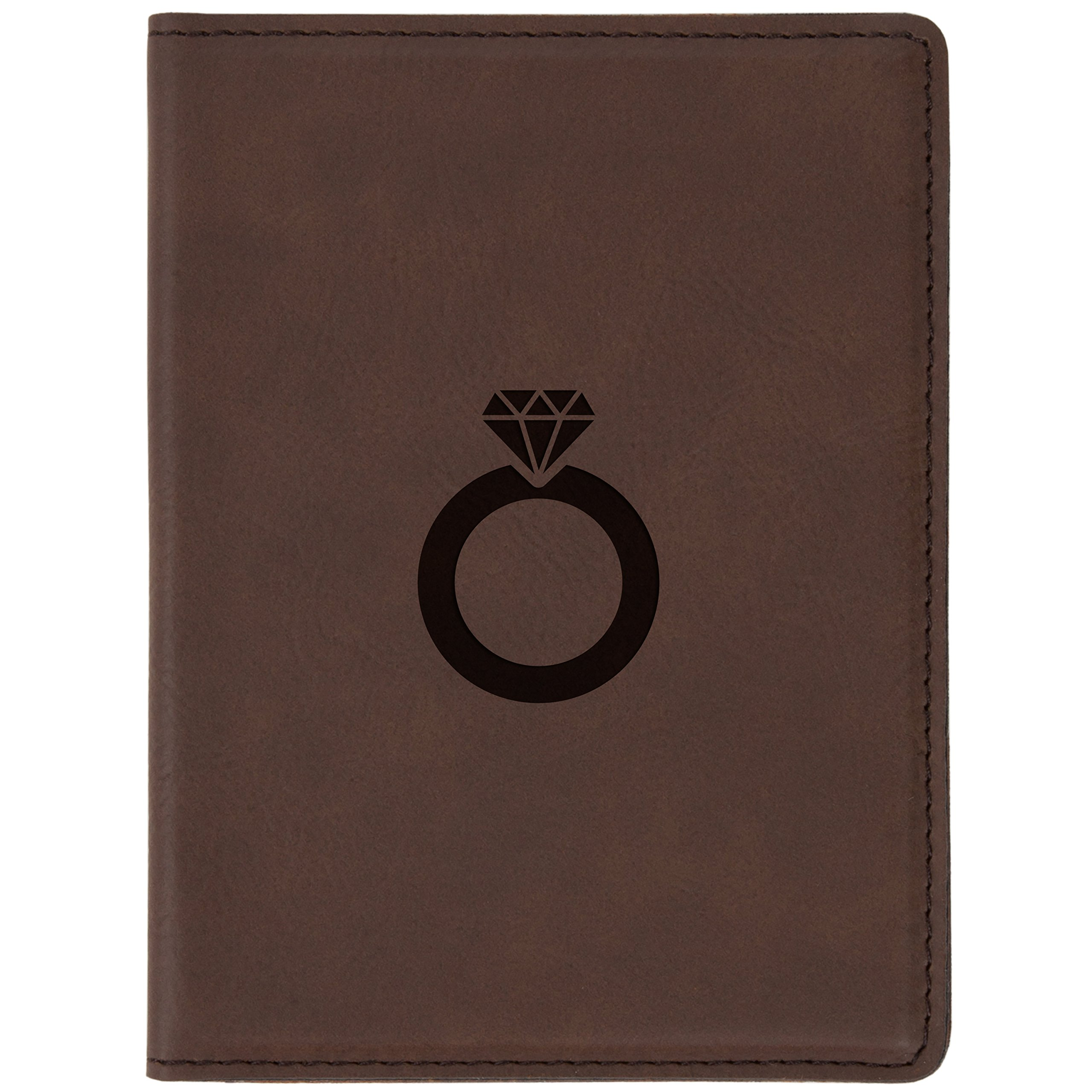 "Wedding Ring Brown Leather Passport Holder - Laser Etched Design - 4 X 5.5"" Engraved Passport Holder For Women And Men"