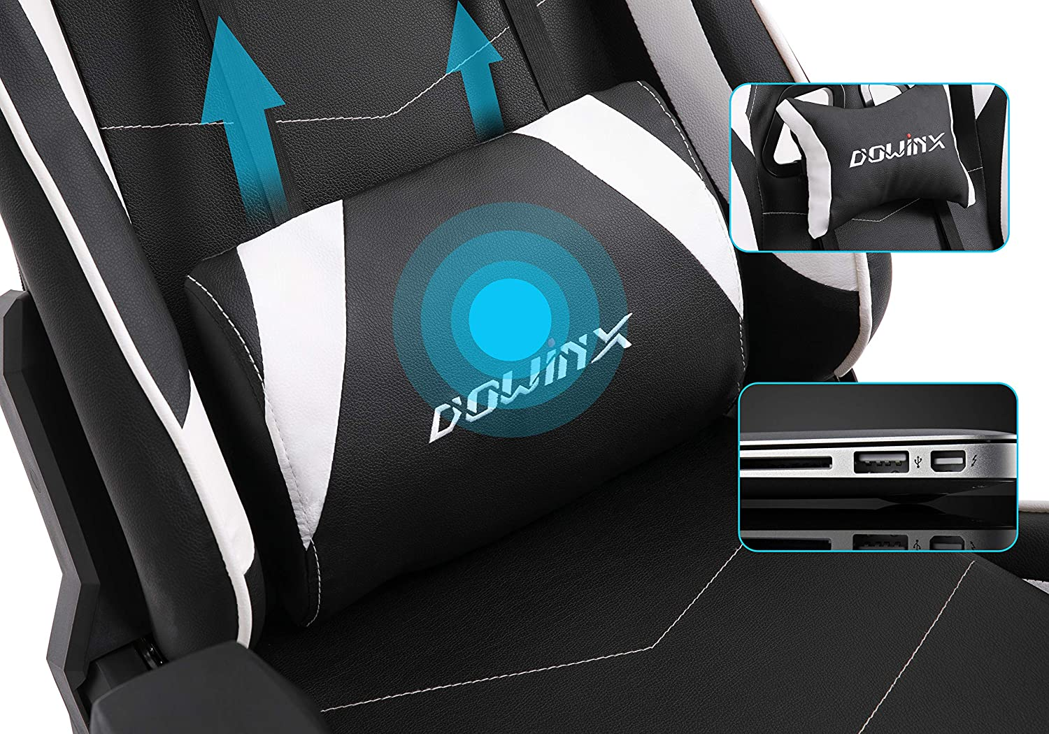 Dowinx Gaming Chair Ergonomic Racing Style Recliner with Massage Lumbar Support, Office Armchair for Computer PU Leather E-Sports Gamer Chairs with Retractable Footrest Black White