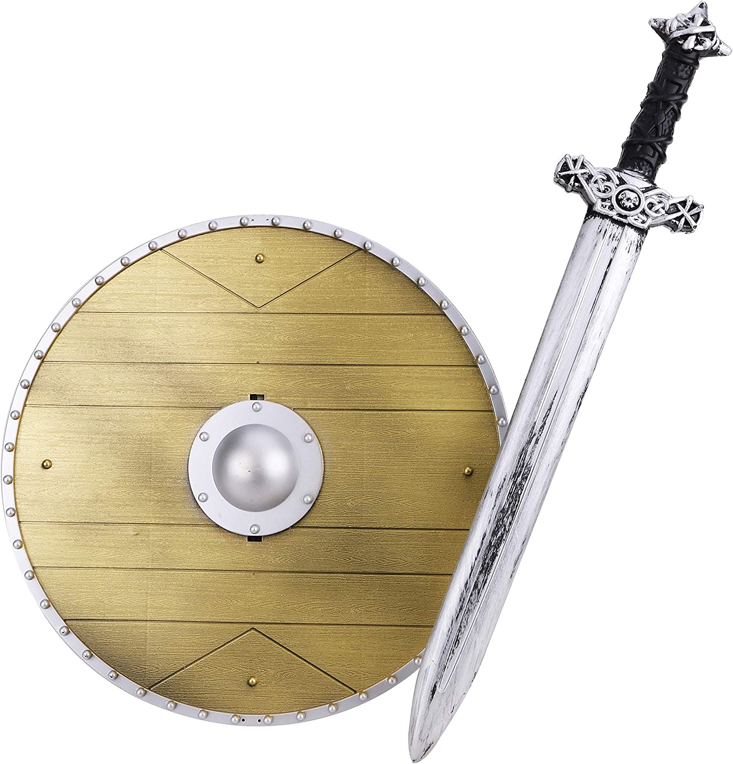 Boys Kids Viking Weapons Set Shield Sword Accessory Child/'s Medieval Fancy Dress